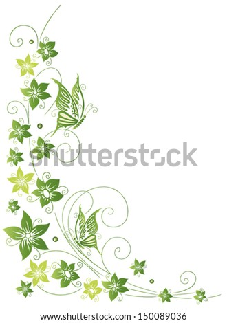 Colorful flowers with butterflies, green, spring - stock vector