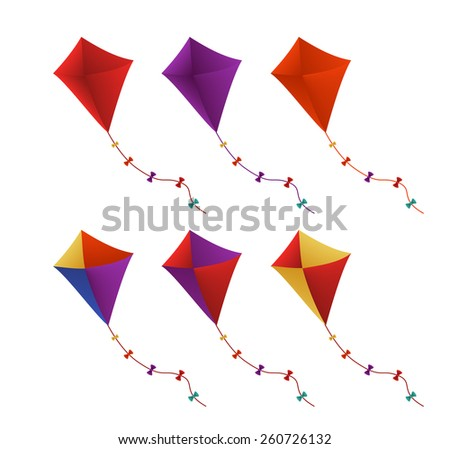 Colorful Flying Kites Set in White Background. Vector Illustration