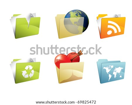 Colorful folders with accesories - stock vector