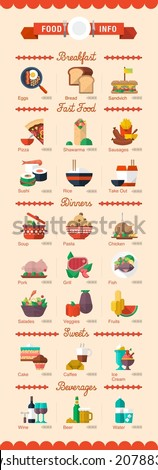 colorful food and drinks icons, vector menu - stock vector
