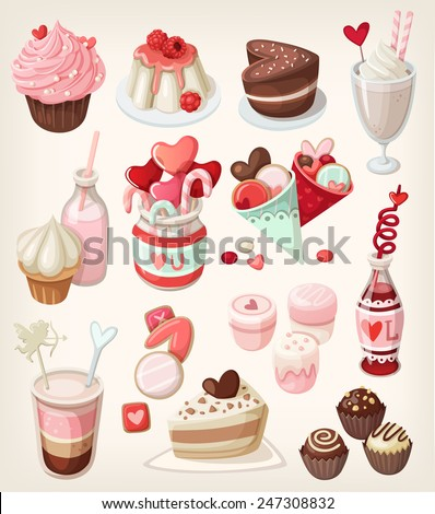 Colorful food for love related occasions: Valentine's day, romantic date, wedding  - stock vector