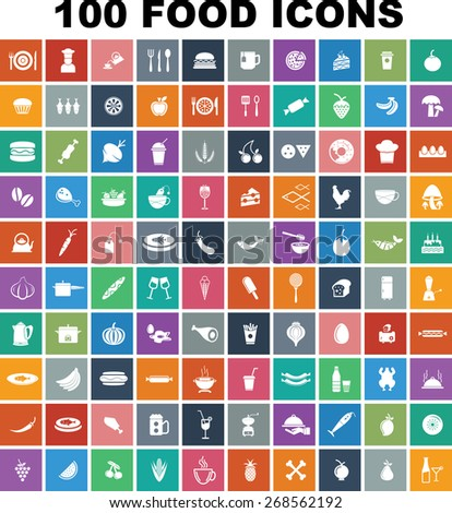 Colorful Food Icon Set - stock vector