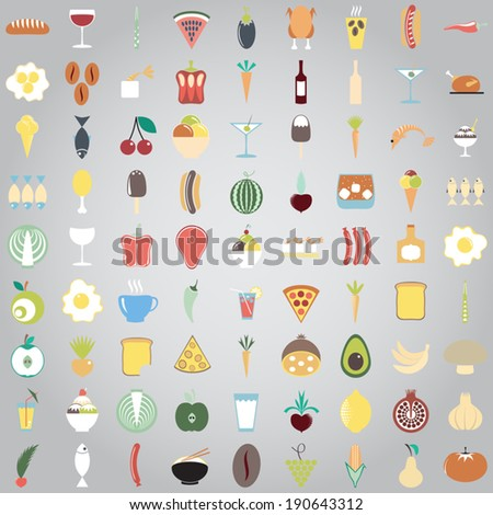 Colorful Food icons. Fruit and vegetable App Set in Trendy Flat Style. Kitchen and restaurant items.