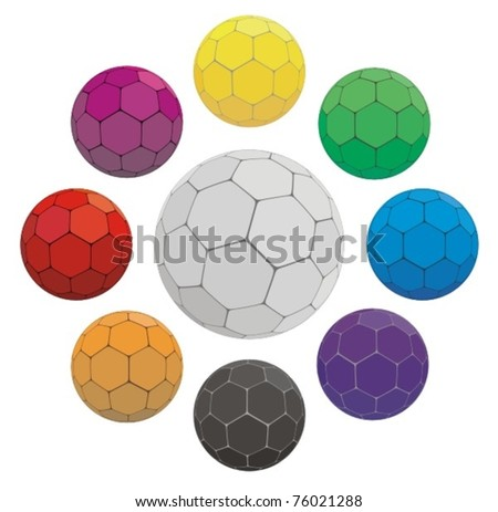 colorful football (soccer) balls - stock vector