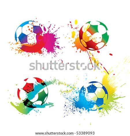 Colorful footballs - stock vector
