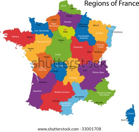 Colorful France map with regions and main cities - stock vector