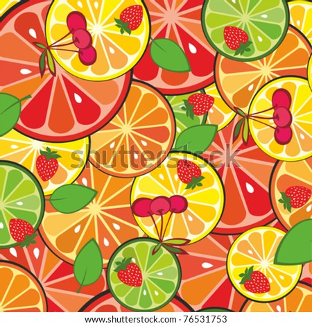 colorful fruit background.  Vector illustration