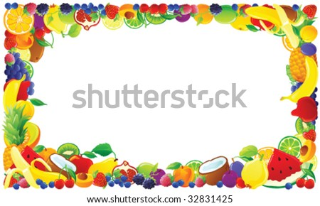 Colorful fruit frame. Vector illustration.