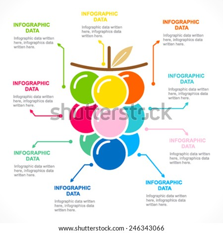 colorful fruit info-graphics design vector - stock vector