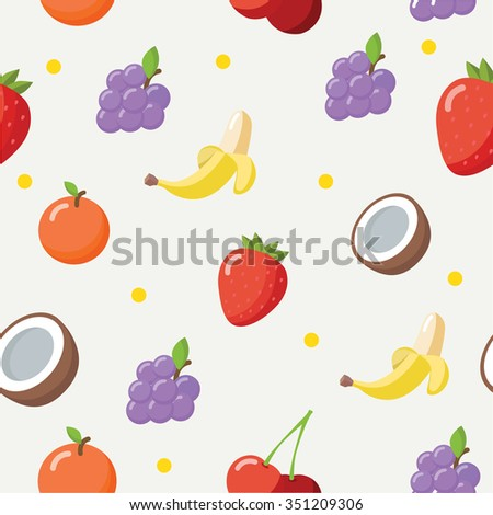 Colorful fruit pattern in flat design style. Seamless vector. - stock vector