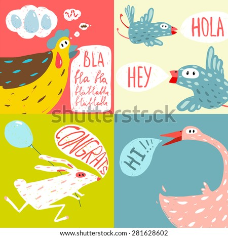 Colorful Fun Cartoon Domestic Animals Greeting Cards. Amusing vivid baby animals illustrations for children. Vector EPS10. - stock vector