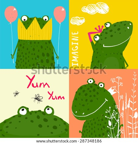 Colorful Fun Cartoon Frogs Animals Greeting Cards for Kids. Amusing vivid baby animals illustrations for children. - stock vector