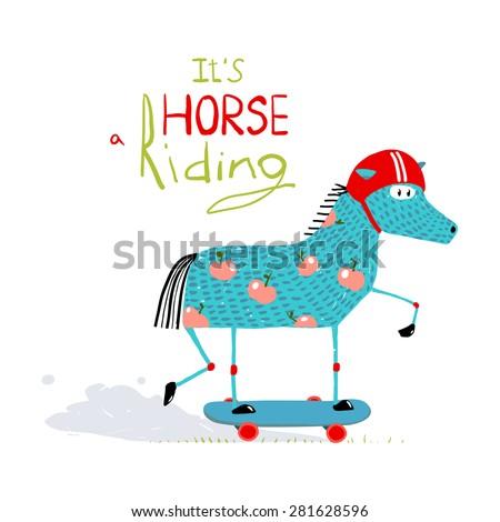Colorful Fun Cartoon Horse on Skateboard for Kids. Amusing skating animal illustration for children. Vector EPS10. - stock vector