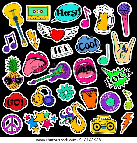 Colorful Fun Set Music Stickers Icons Stock Vector ...