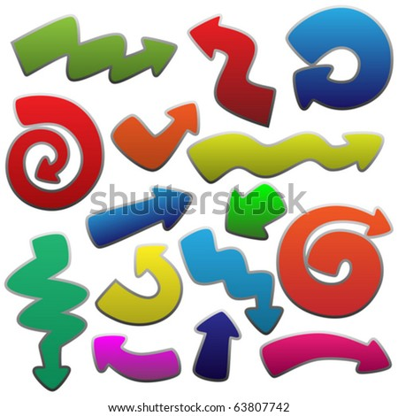 colorful funny arrows set - stock vector