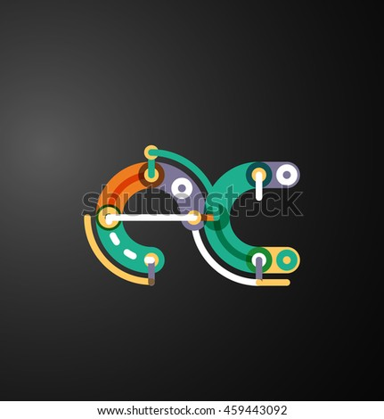 Colorful funny cartoon letter icon. Business logo design - stock vector