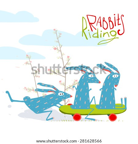 Colorful Funny Cartoon Rabbits Riding Skateboard. Amusing skating animals illustration for kids. Vector EPS10. - stock vector