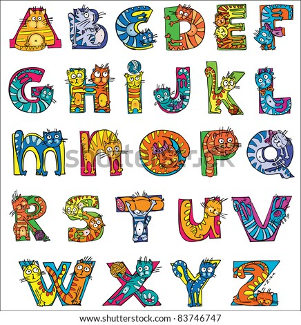 colorful funny cat alphabet - stock vector