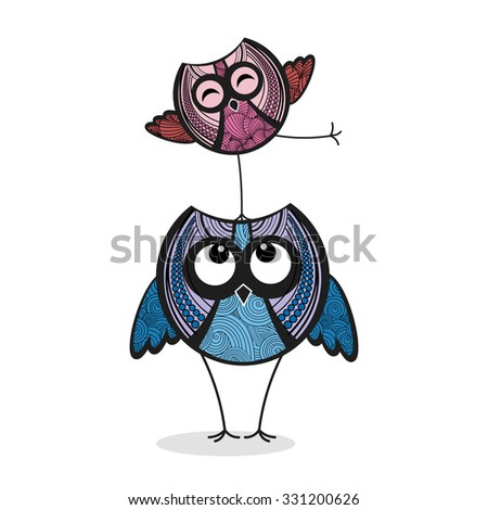Colorful funny owls - stock vector