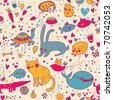Colorful funny seamless pattern with animals - stock vector