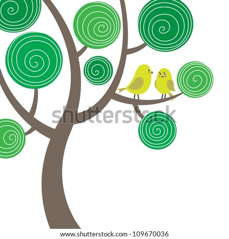 Colorful funny vector composition with two birds on the tree - stock vector