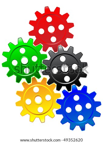 colorful gears - stock vector