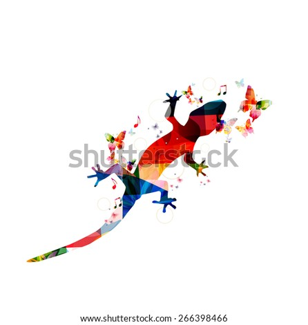 Colorful gecko design - stock vector