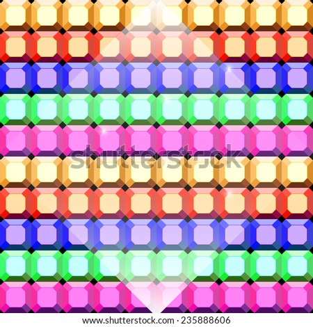 Colorful gem stone square cut pattern background, stock vector - stock vector
