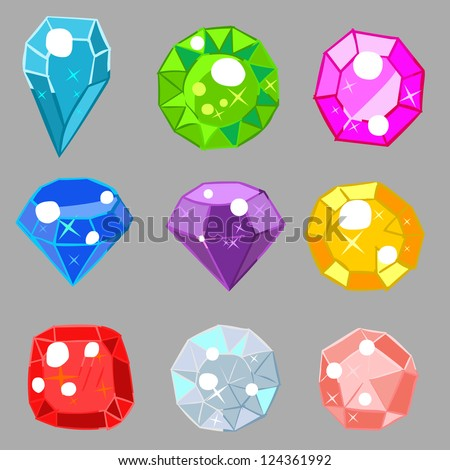 Colorful gems - stock vector