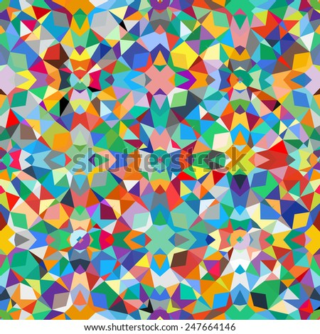 Colorful geometric abstract pattern with variety of shapes and colors in 1970s fashion style. Multicolor vector seamless background. - stock vector