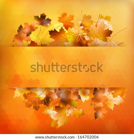 Colorful geometric background card with maple leave enjoy autumn sales. And also includes EPS 10 vector - stock vector