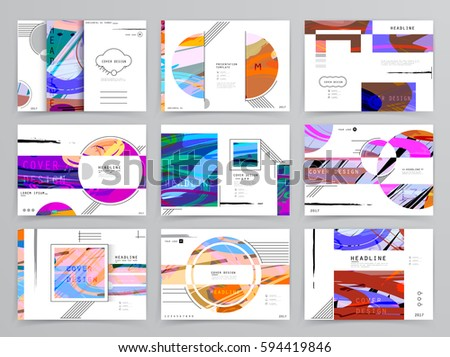 colorful brochure design - colorful geometric brochure design leaflet abstract stock