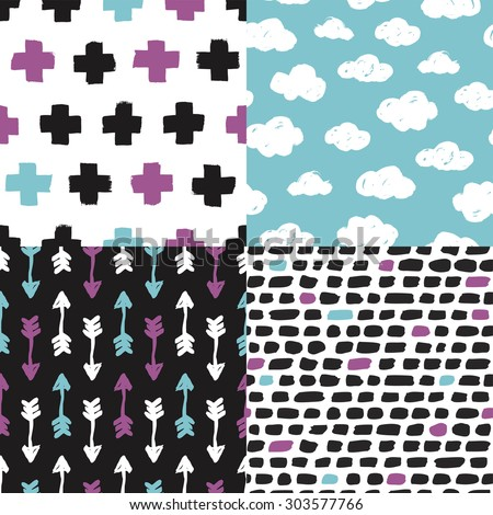 Colorful geometric clouds cross plus sign Indian arrows and abstract isolated shapes background pattern set in vector - stock vector