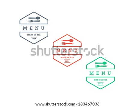 Colorful geometric hipster style restaurant menu badge sign vector graphic template isolated on white background - stock vector
