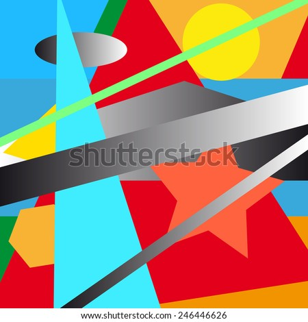 Colorful geometric illustrated abstraction - stock vector
