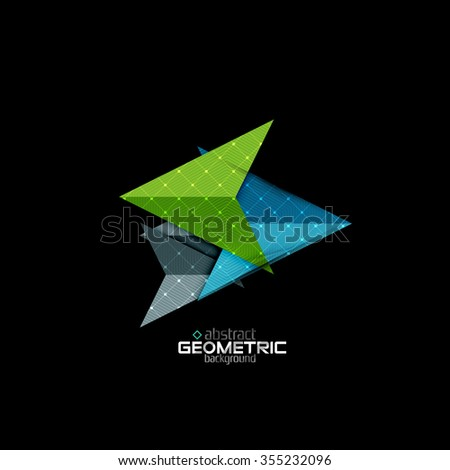 Colorful geometric shapes with texture on black. Modern futuristic abstract design template. Vector illustration