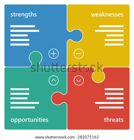 Colorful geometric swot business diagram chart. Vector graphic illustration template isolated on white background. - stock vector
