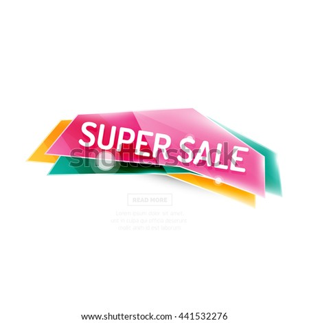 Colorful geometric website sale tag button. Vector universal internet banner