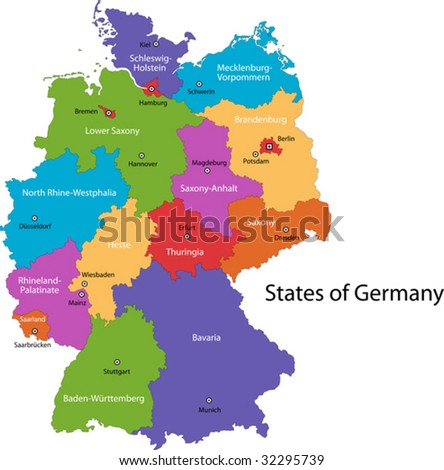 Colorful Germany map with regions and main cities - stock vector