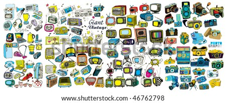 Colorful Giant Retro Tech Collection (vector) - stock vector