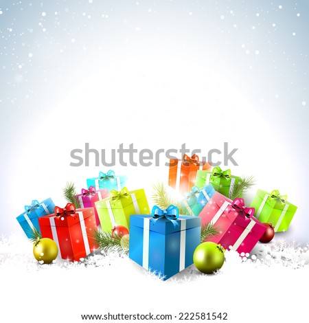 Colorful gift boxes in the snow - Christmas background - stock vector