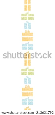 Colorful gift boxes textile texture vertical border seamless pattern background - stock vector