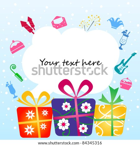 Colorful gift boxes with place for your text