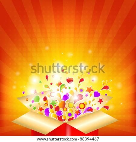 Colorful Gift Red Box, Vector Illustration - stock vector