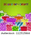 Colorful gifts for the new year - stock vector