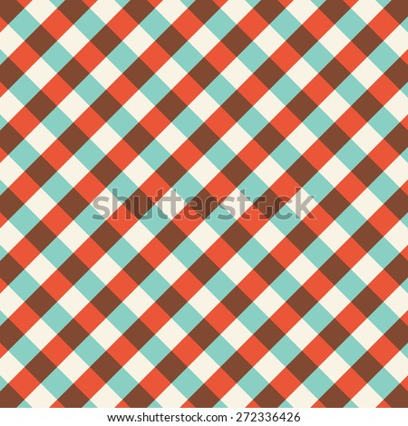 Colorful gingham tablecloth pattern background. Vintage vector pattern. - stock vector