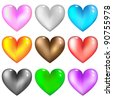 Colorful glass hearts icon for web.Vector set. - stock vector
