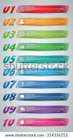 Colorful Glass Rectangle Text Box With Number, Business Icon and Information Text. 10 Options, For Business/Finance Infographic. Vector Illustration