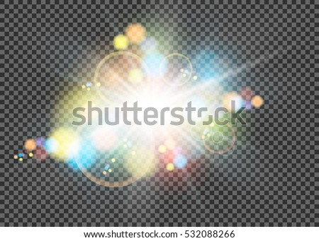 Colorful glitter bokeh lights and tinsel. Shining star, solar particles, space and spark a flare effect on a transparent background