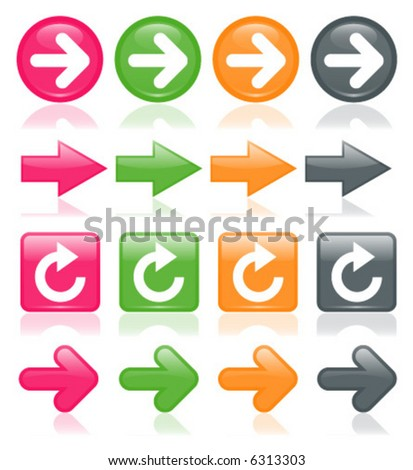 Colorful, glossy arrows, reflected on white; perfect for any web project - stock vector